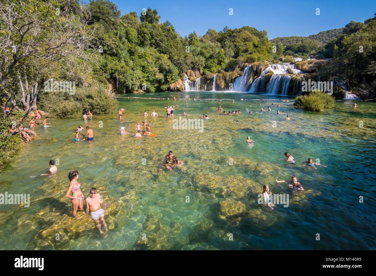 Croatia, North Dalmatia, Krka National Park, Krka River Falls at Skradinski Buk - Stock Image