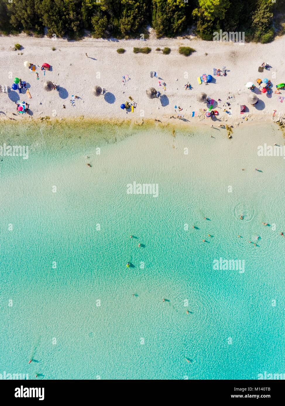 Croatia, North Dalmatia, Dalmatian coast, Zadar archipelago, Dugi Otok island, Sakarun beach (aerial view) Stock Photo