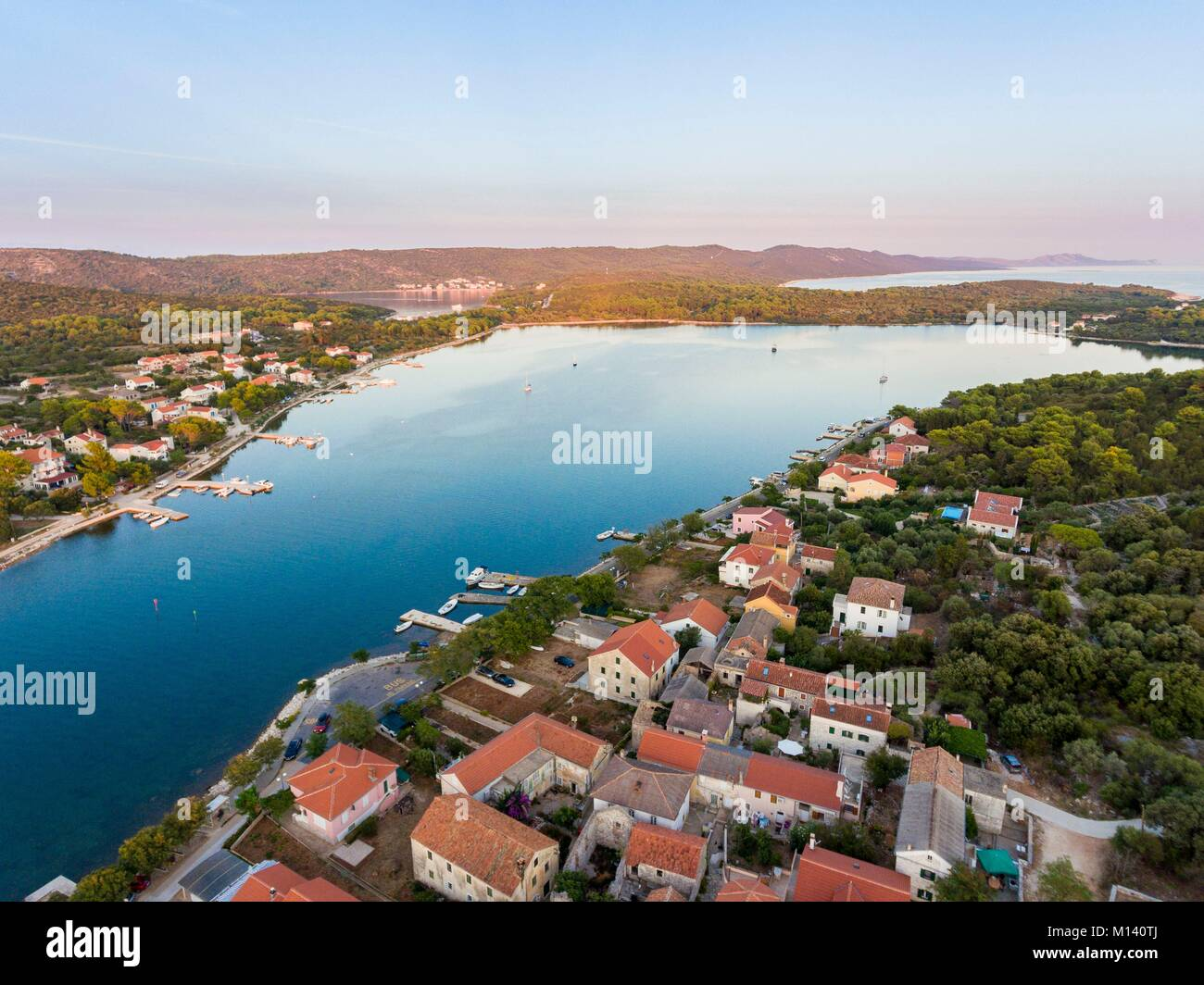 Croatia, North Dalmatia, Dalmatian coast, Zadar archipelago, Dugi Otok Island, Veli Rat village (air view) - Stock Image