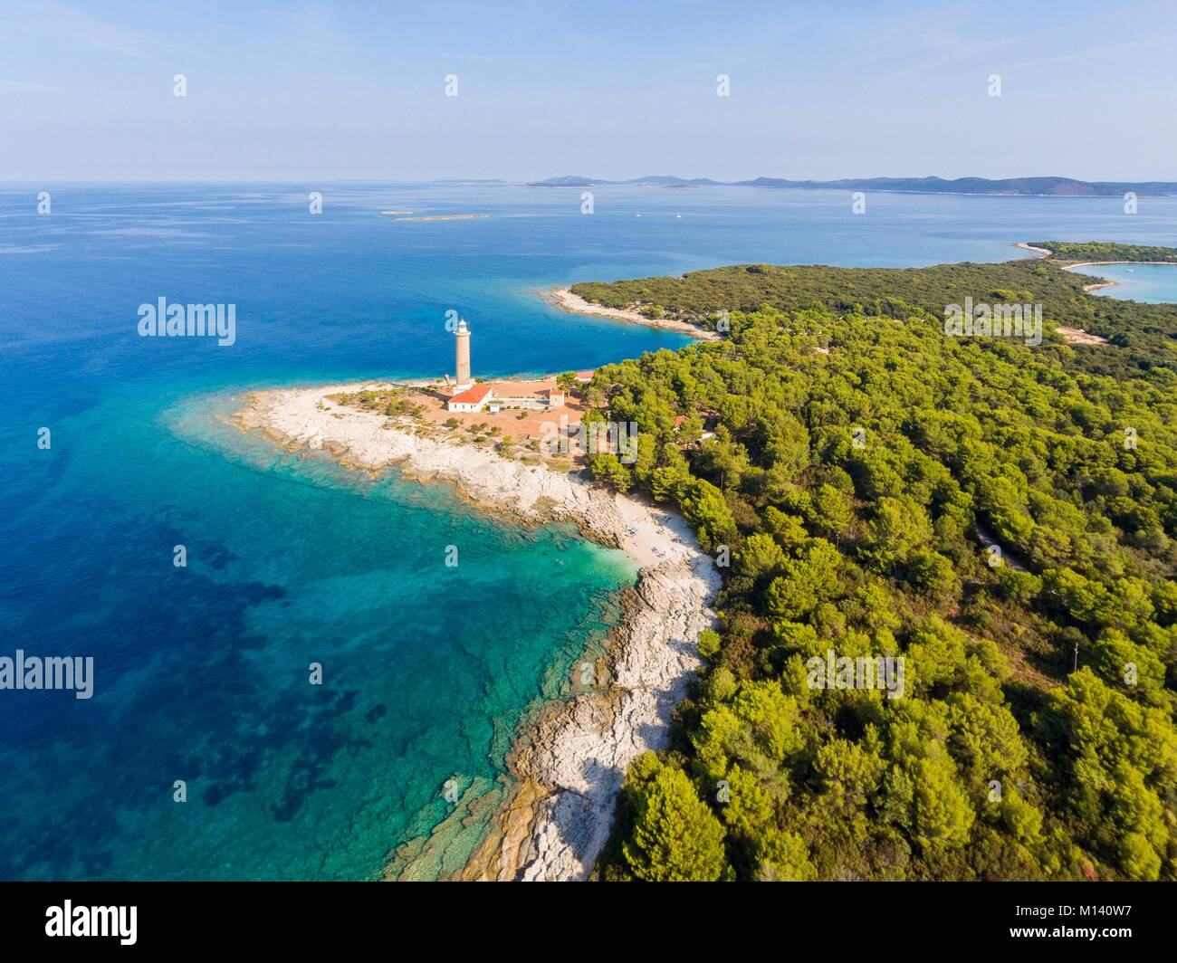 Croatia, North Dalmatia, Dalmatian coast, Zadar archipelago, Dugi Otok Island, Veli Rat lighthouse (aerial view) - Stock Image
