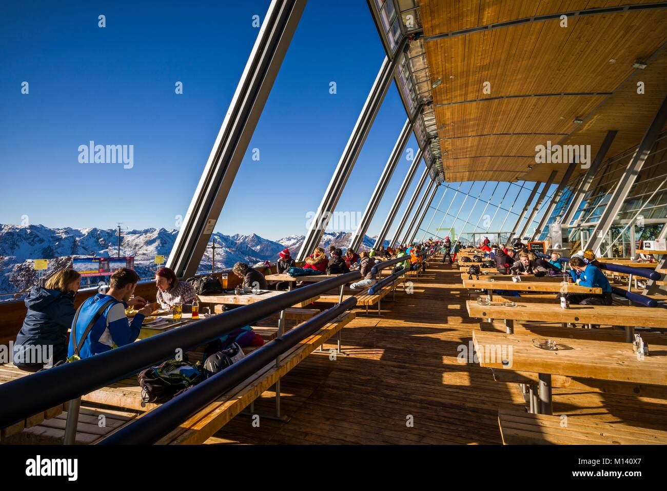 Austria, Tyrol, Axamer Lizum, hosting village of the 1964 and 1976 Winter Olympics, Hoadl Haus Restaurant dining - Stock Image