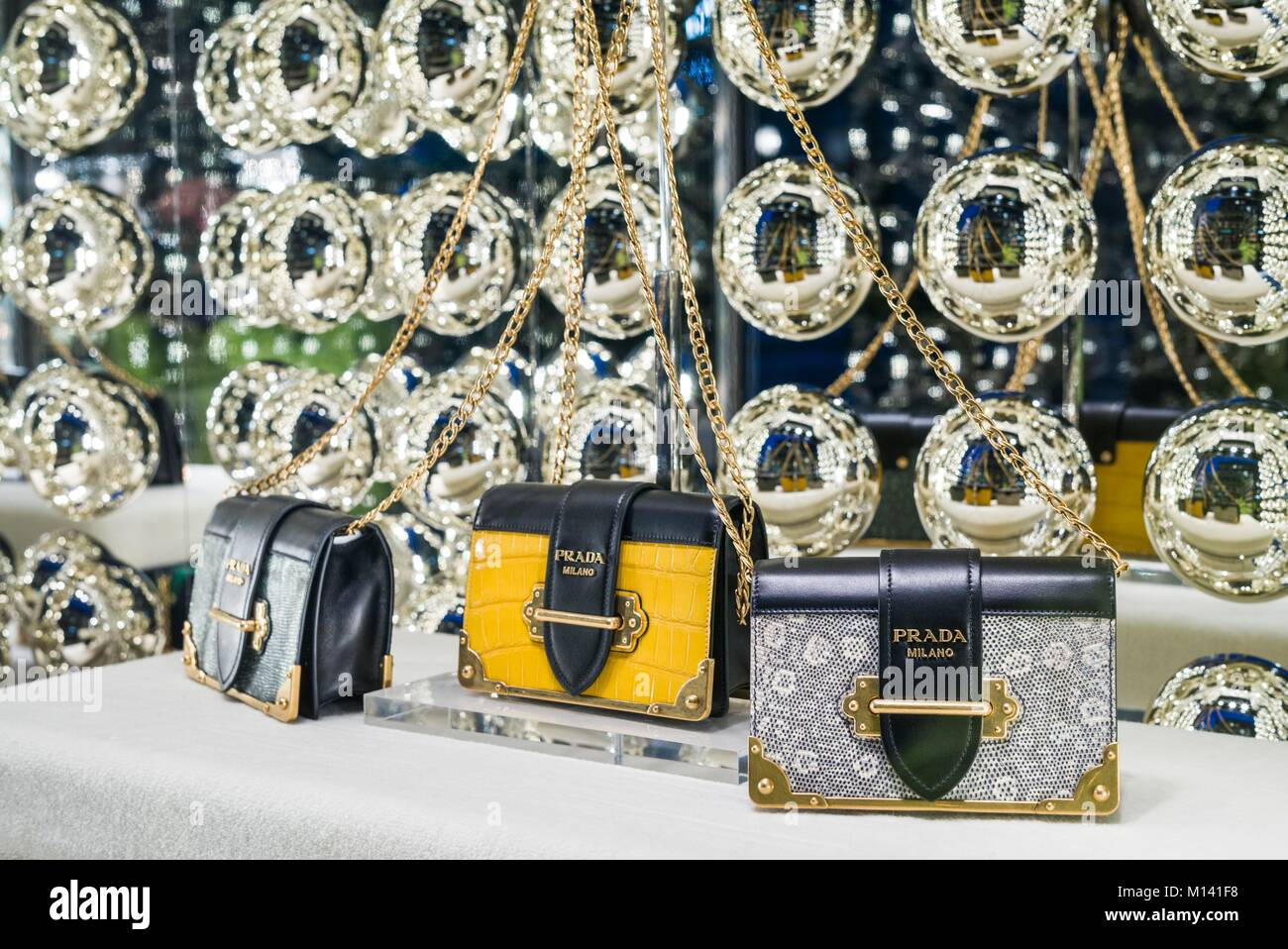 Germany, Bavaria, Munich, Theatiner Strasse shopping district, Prada handbags Stock Photo