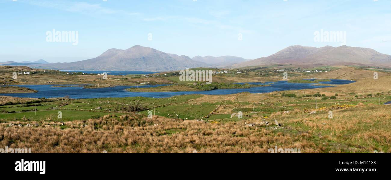 Ireland, County Galway, Tully, Tully Lake, left is Croagh Patrick Mountain in the background, amidst Killary Harbour - Stock Image