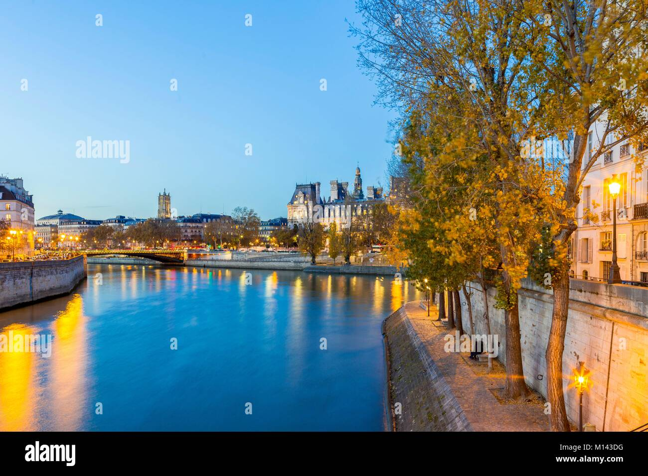 France, Paris, area listed as World Heritage by UNESCO, the City Hall, on the left the Ile de la Cite and on the - Stock Image