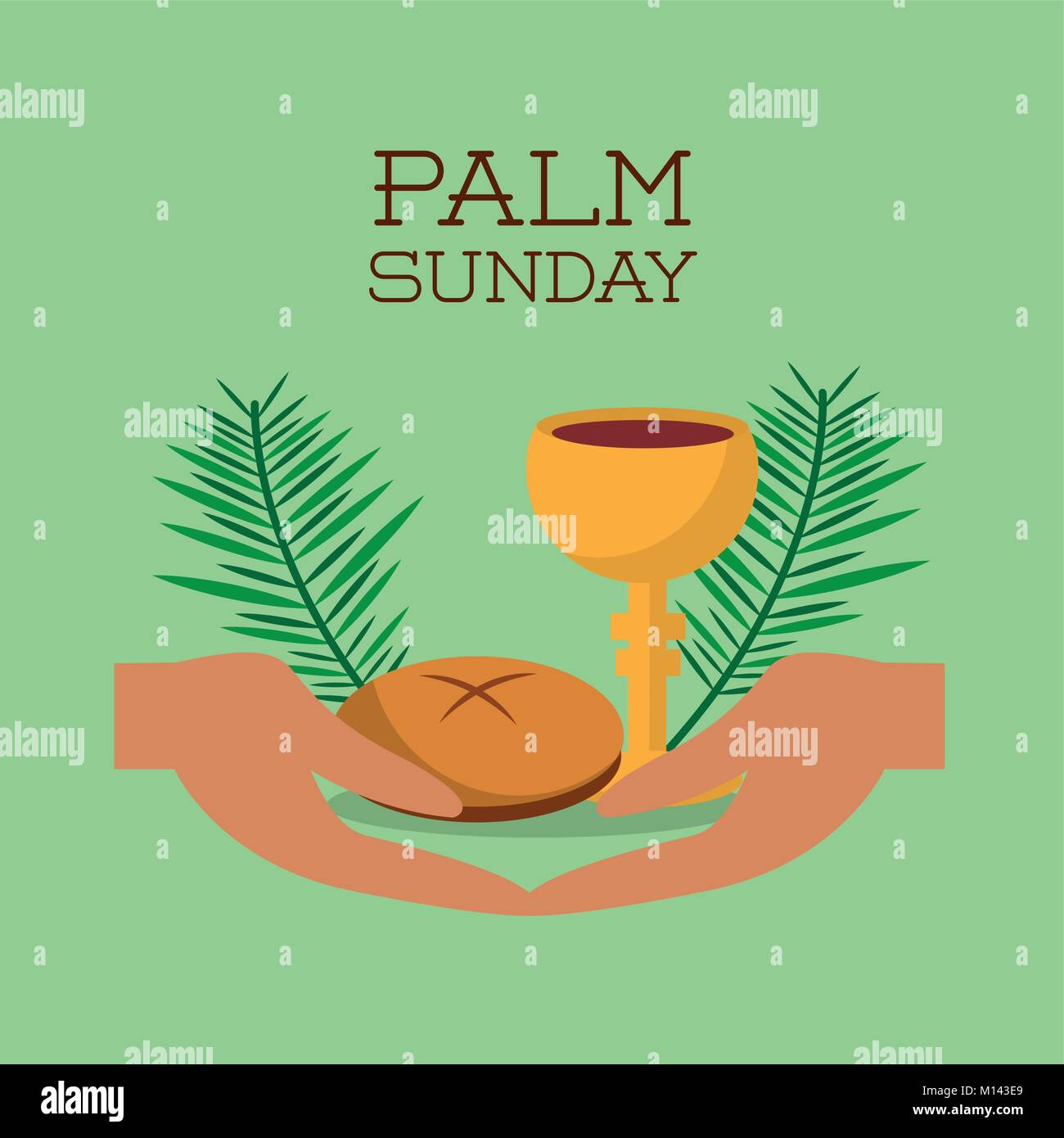 palm sunday hands bread and cup green background Stock Vector