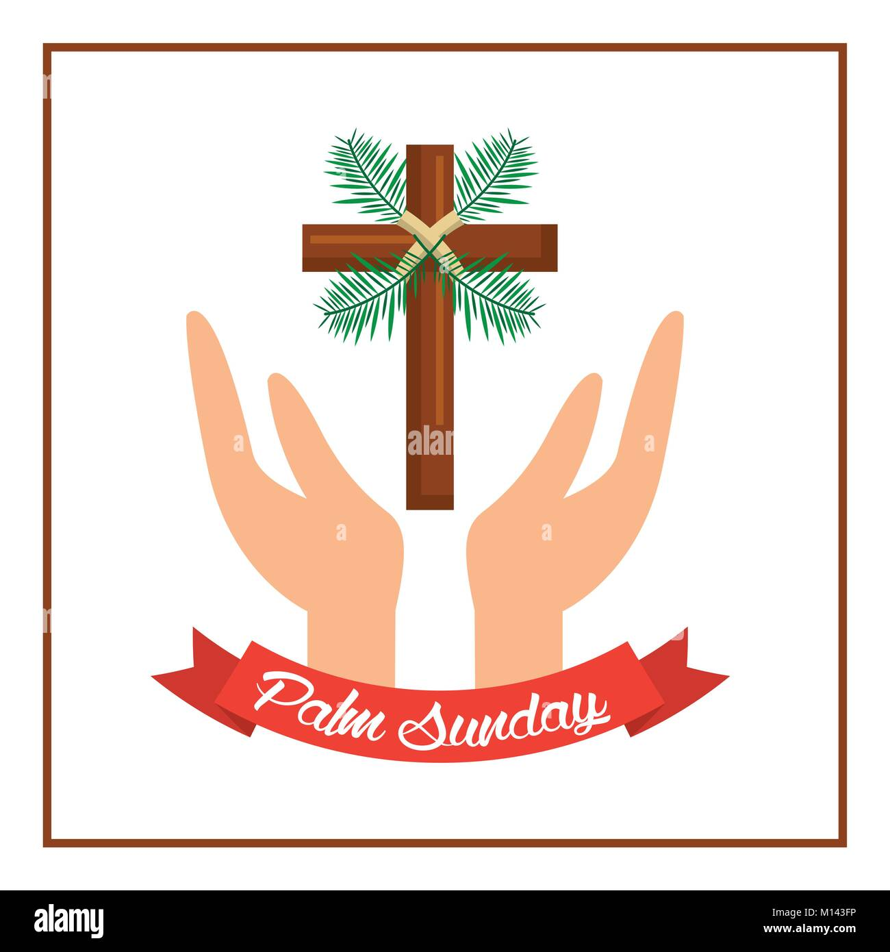 palm sunday passion christ hands with cross - Stock Image
