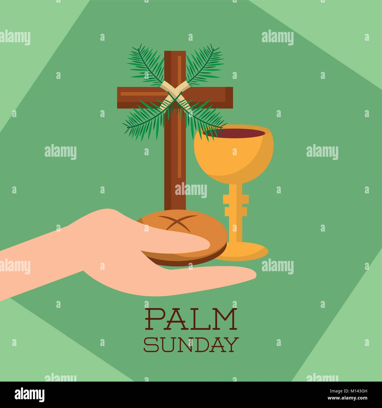 palm sunday hand holding bread cup jesus christ green background - Stock Vector