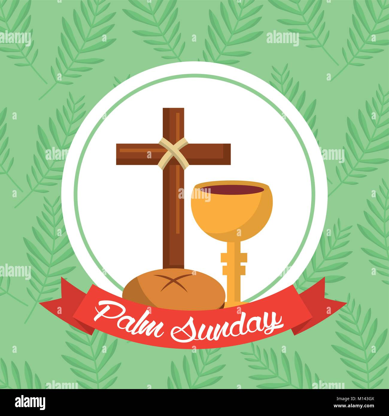 palm sunday bread cross cup ribbon green background - Stock Vector