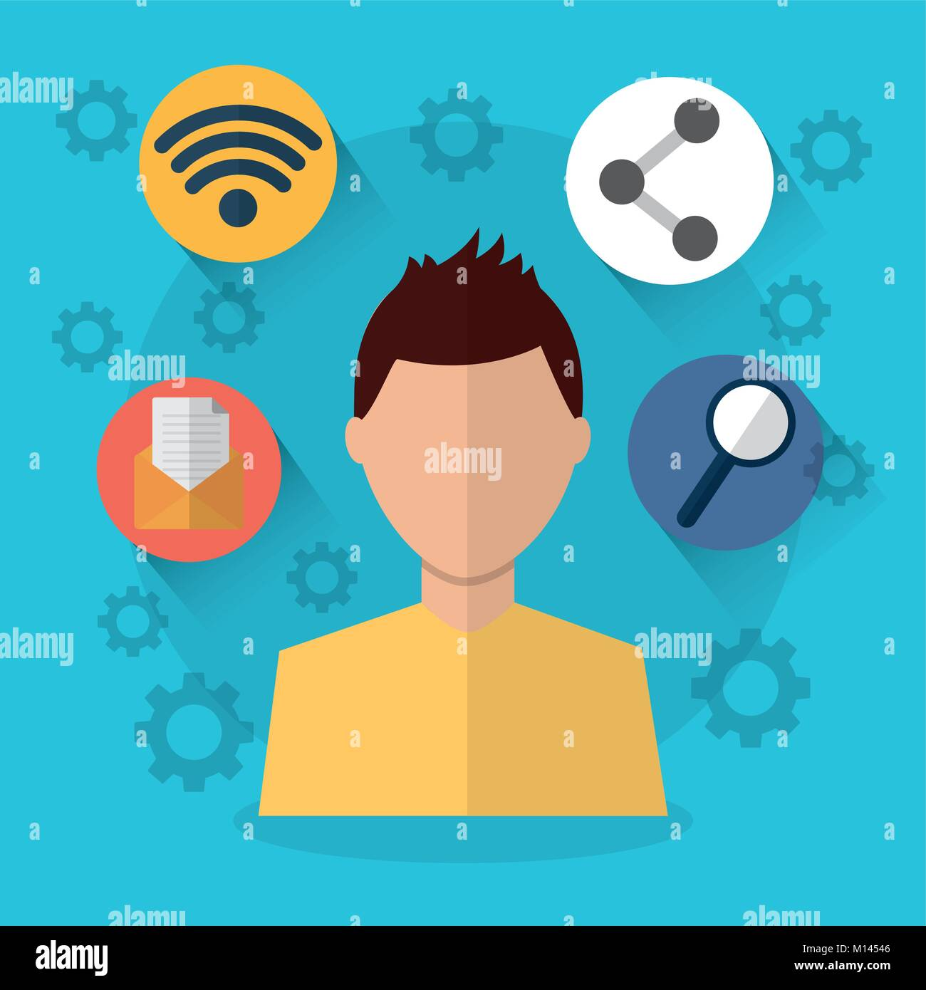 man internet wifi sharing email search icons - Stock Image