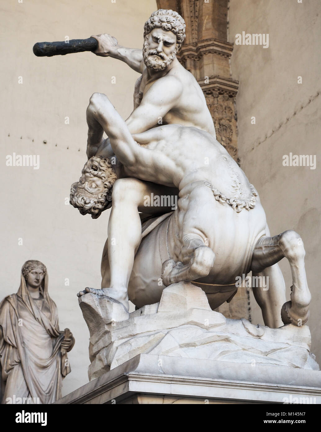 Italy,Florence,Loggia dei Lanzi,Hercules and the Centaurus statue - Stock Image