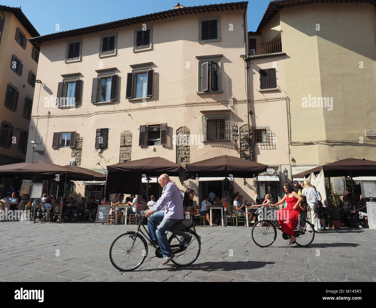Europe,Italy,Tuscany,Florence,tourist visit old town by bicycles Stock Photo