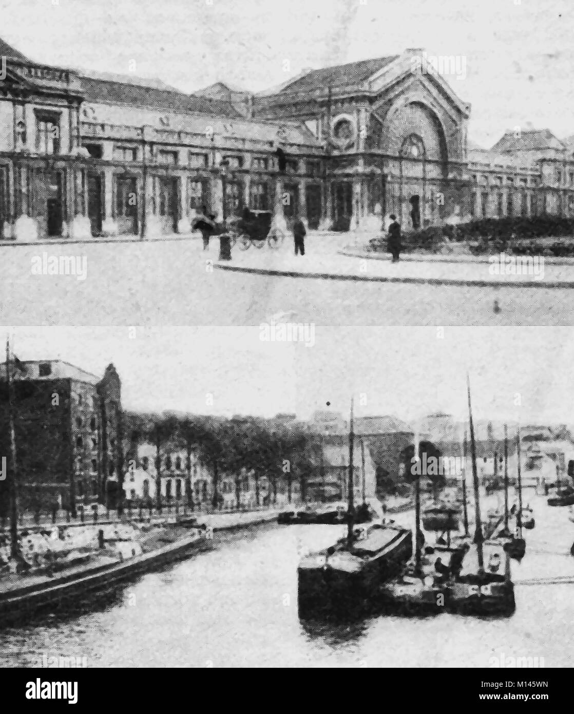 An old printed photograph showing the railway station and grain quay at  Charleroi (Tchålerwè in the Walloon - Stock Image