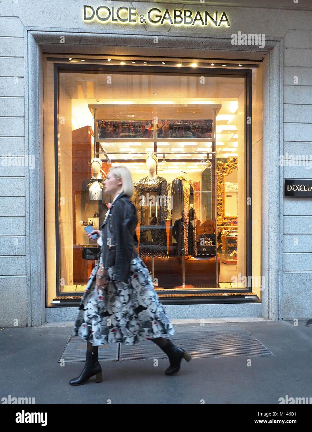 Italy,Lombardy,Milan,Via Montenapoleone, Dolce & Gabbana fashion shop - Stock Image