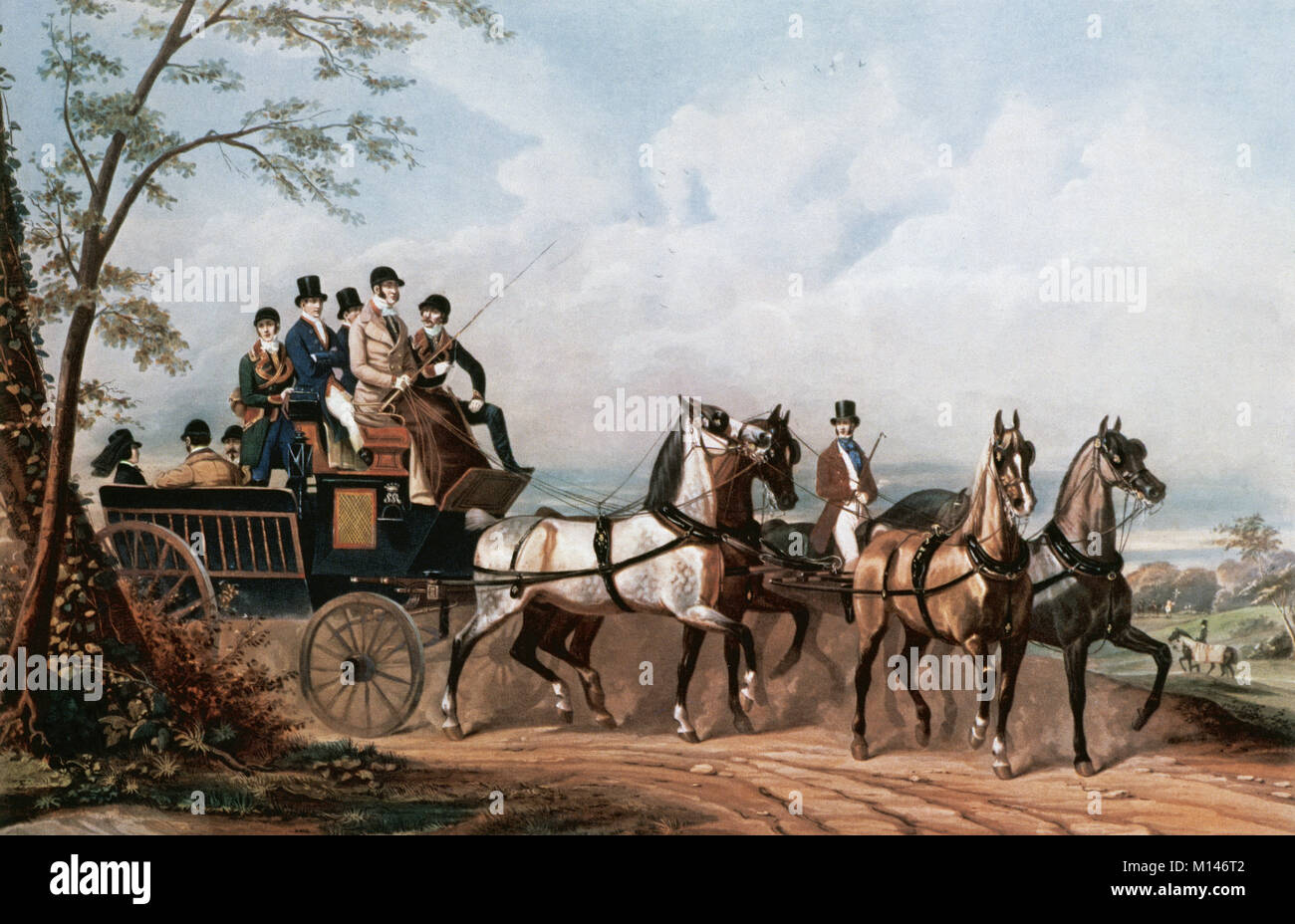 Society. 19th century. The life of a Gentleman in all seasons of the year: the Autumn. Travell in a bourgeoise carridge - Stock Image