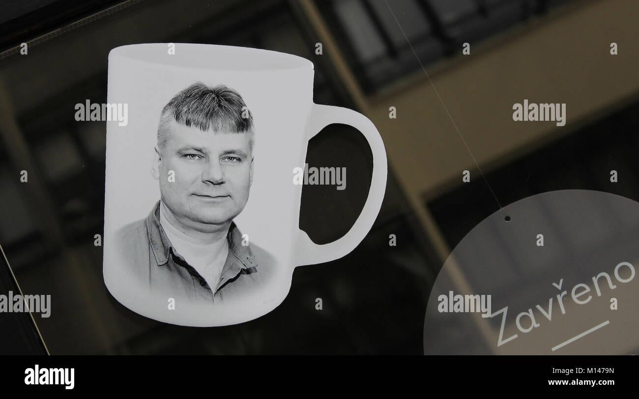 Jiri Kajinek, mug with portrait print - Stock Image