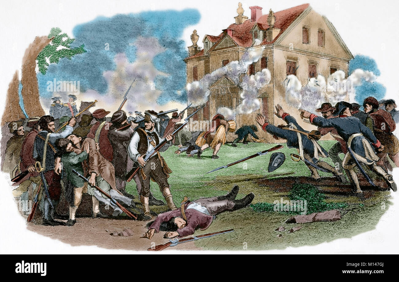 American Revolutionary War (1775-1783). The Battle of Germantown, 1777. American revolutionary troops attack the - Stock Image
