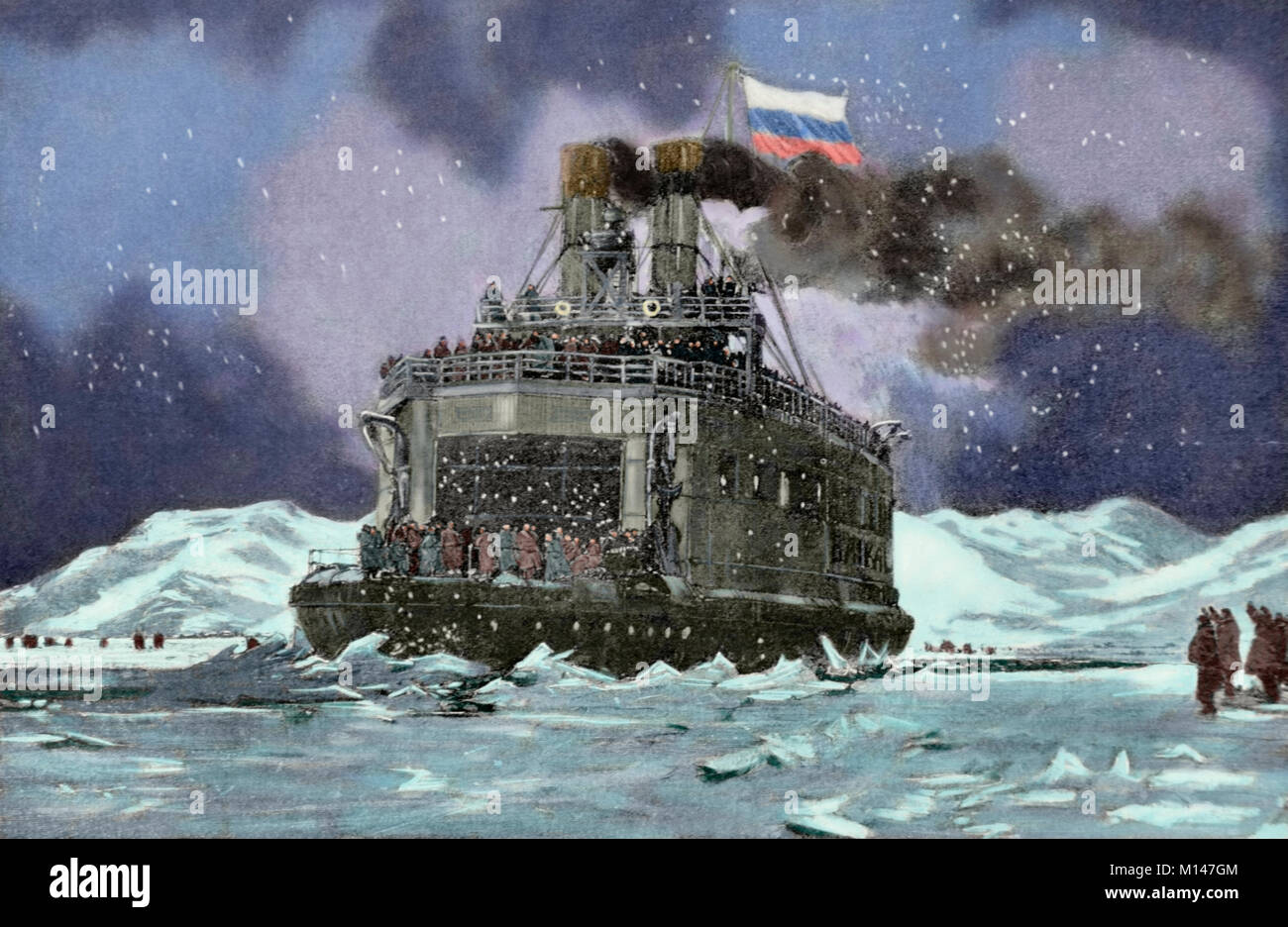 Russo-Japanese War (1904-1905). The icebreaker Baikal transports Russian troops across Lake Baikal. South of Siberia. - Stock Image