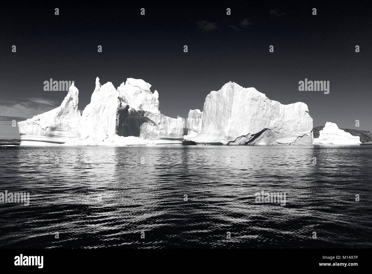 Icebergs from the icefjord, Ilulissat, Disko Bay, Greenland, Polar Regions - Stock Image