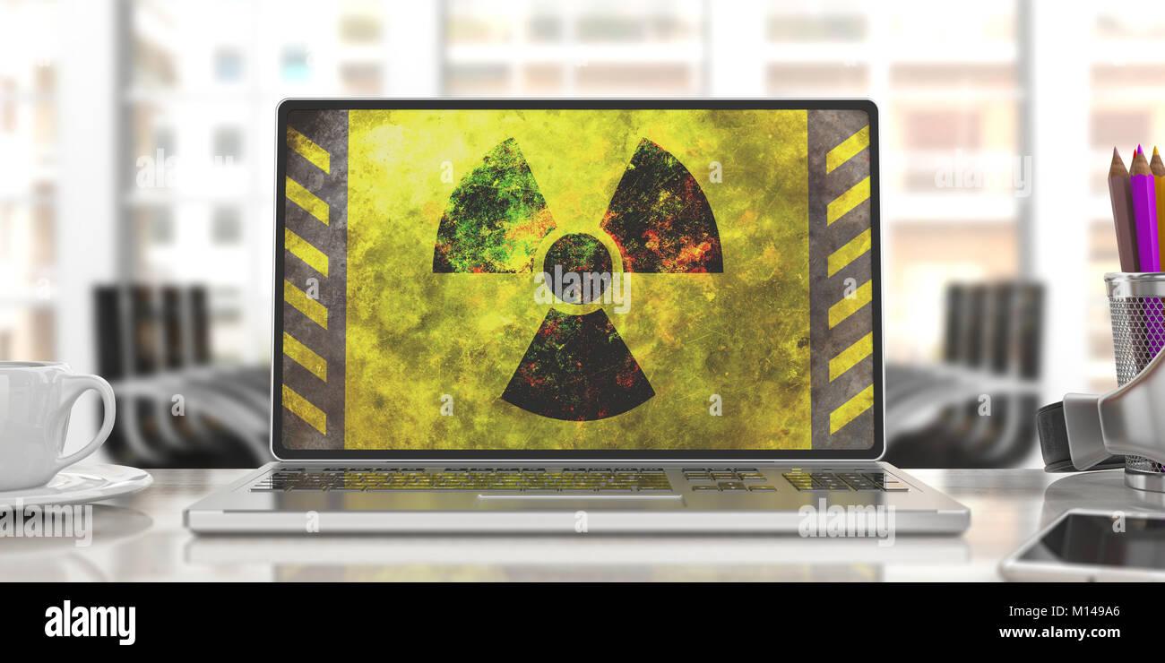 Radiation symbol on a laptop screen, blur office background. 3d illustration - Stock Image