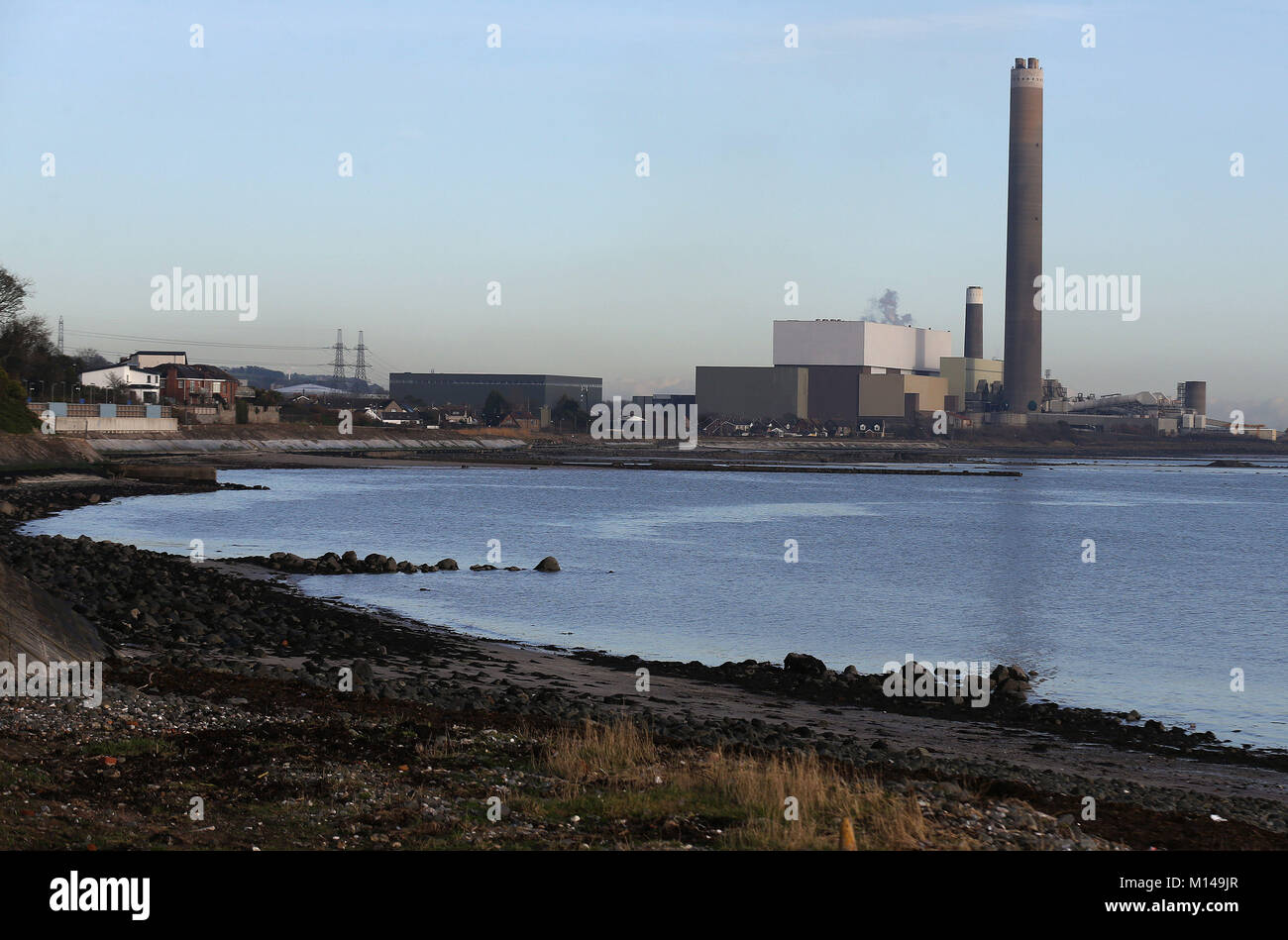 Kilroot power station in Carrickfergus, Co. Antrim, which faces closure within months after failing to land a contract - Stock Image