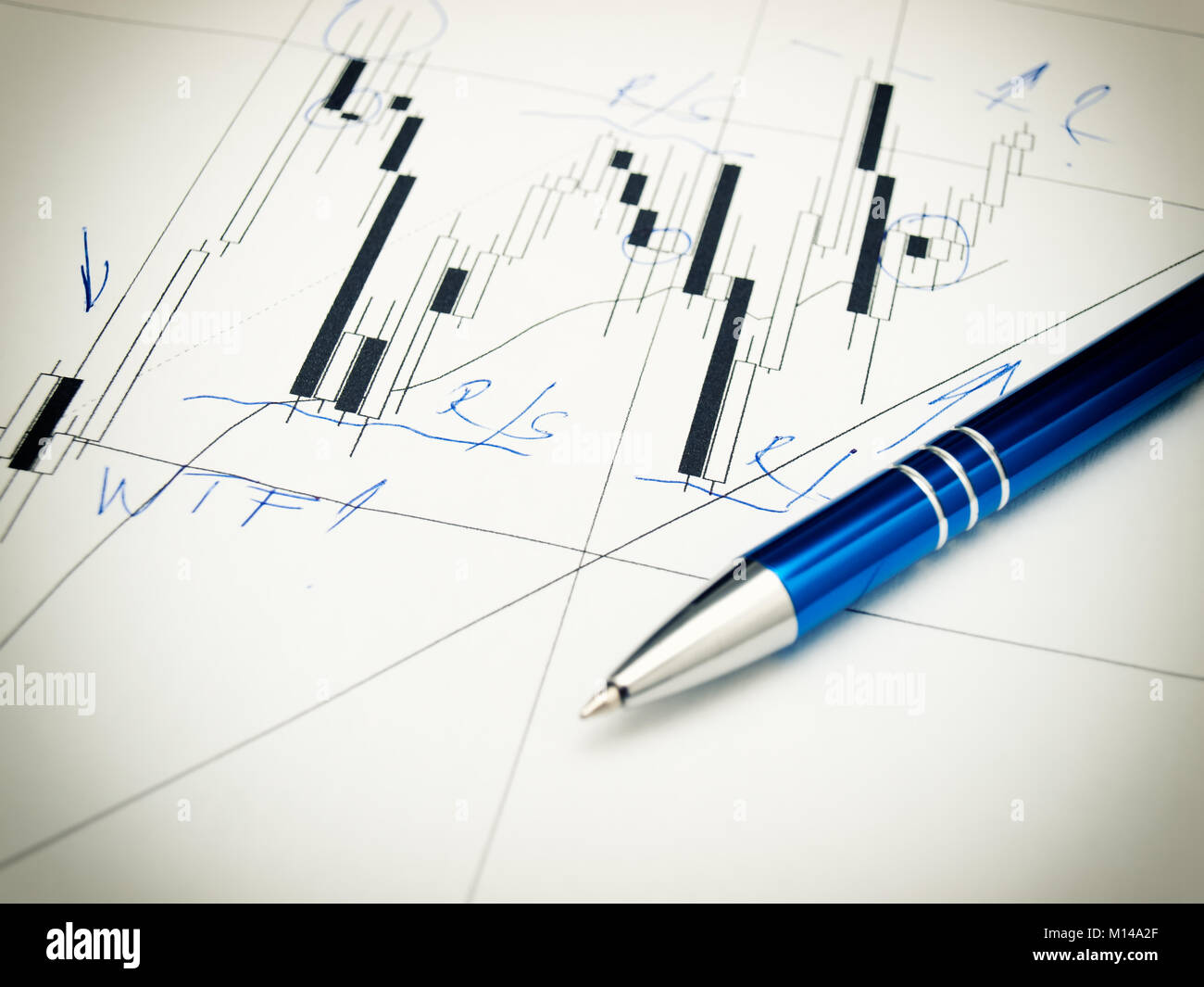 Candlestick forex graph and pencil. - Stock Image