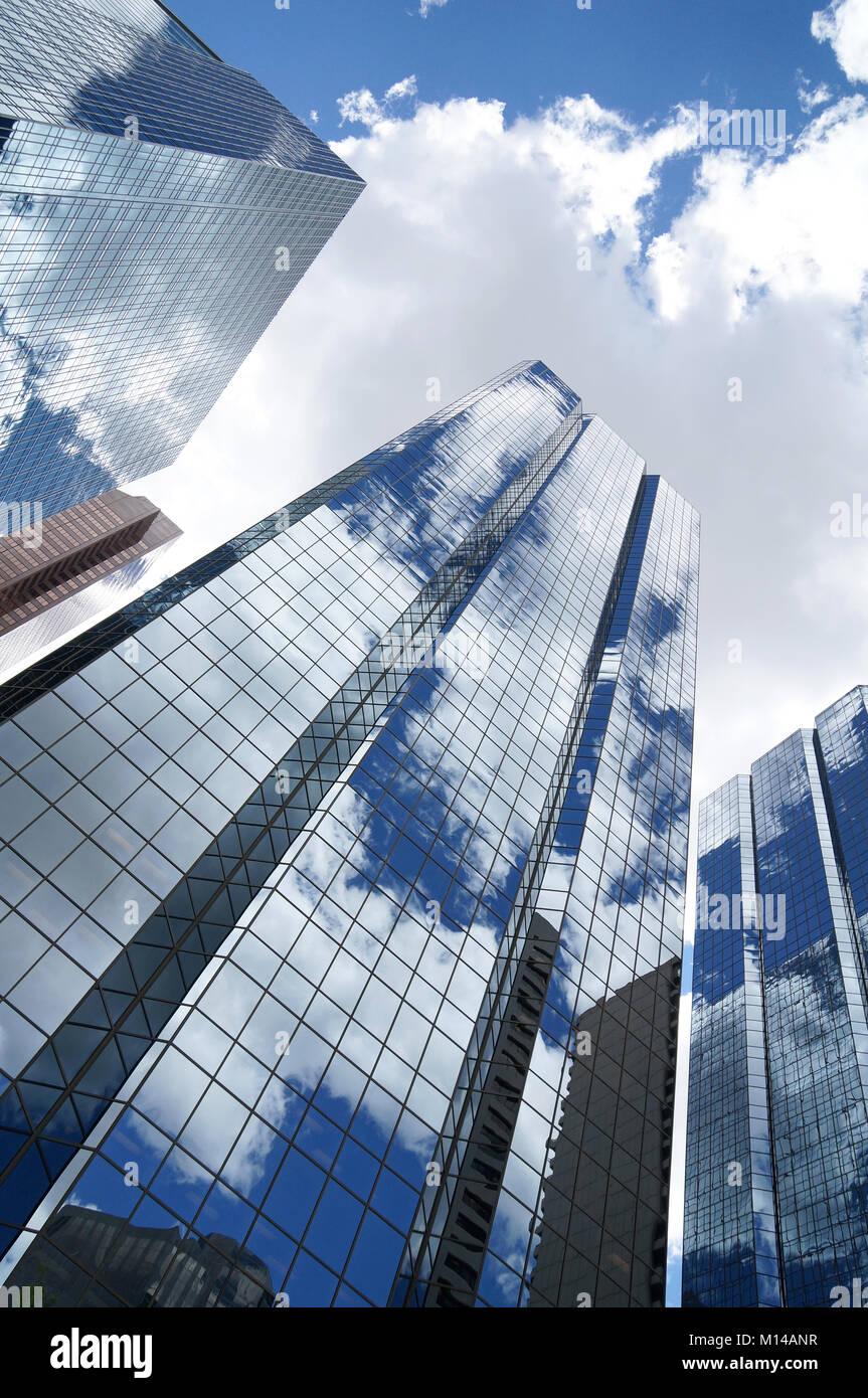 Reflected sky in Calgary high rises, Calgary, Alberta, Canada - Stock Image