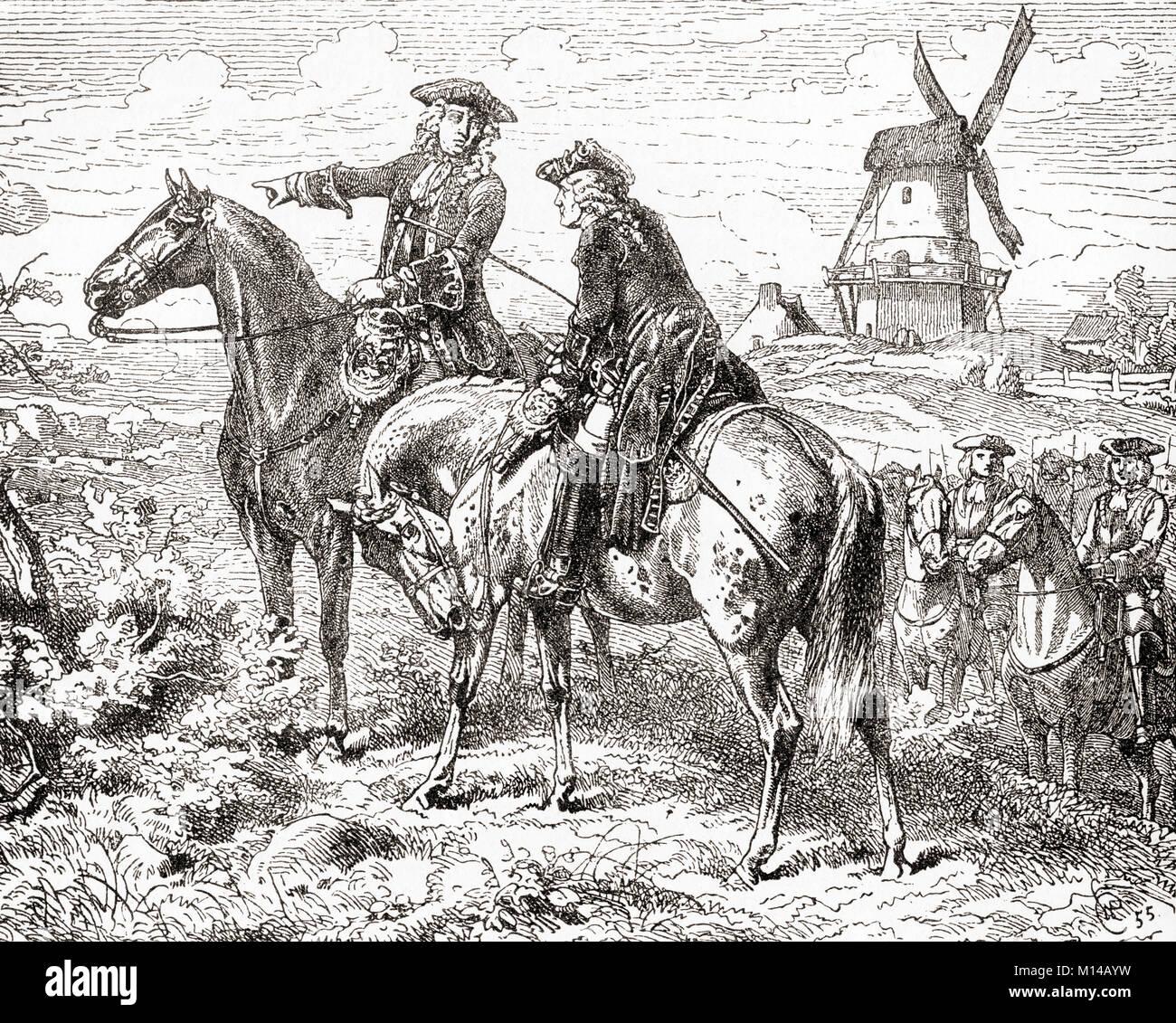 The Duke of Marlborough at The Battle of Malplaquet,11 September 1709.  General John Churchill, 1st Duke of Marlborough, - Stock Image