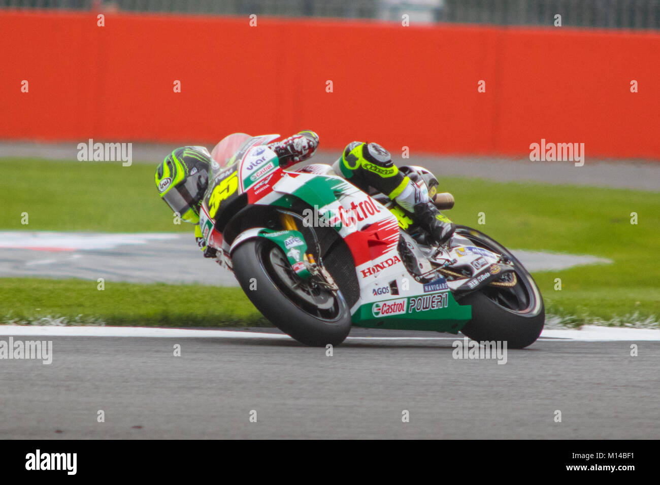 Cal Crutchlow on a flying lap during qualifying for Octo British Grand Prix 2017 - Stock Image