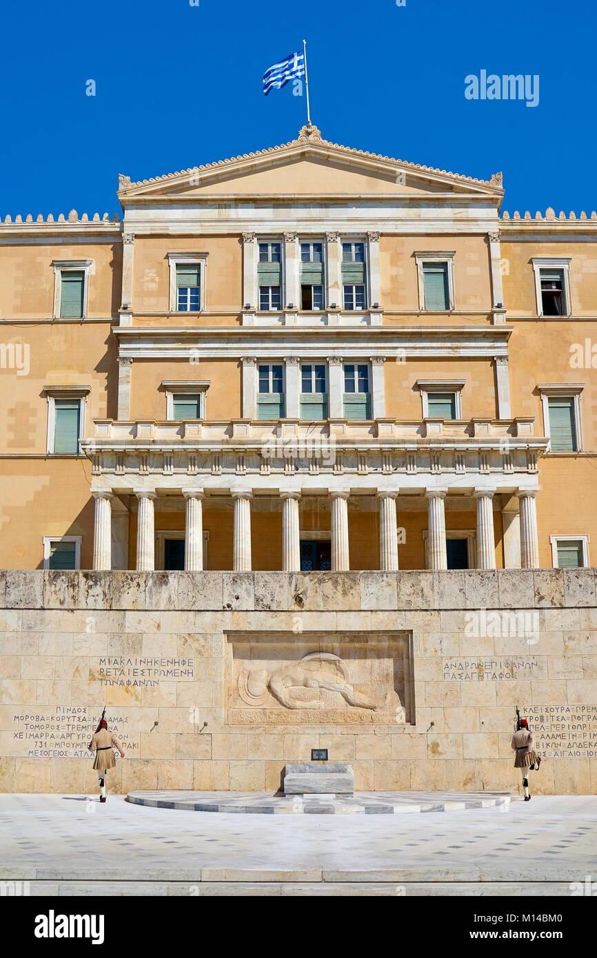 Greek Parliament building, Athens, Greece - Stock Image