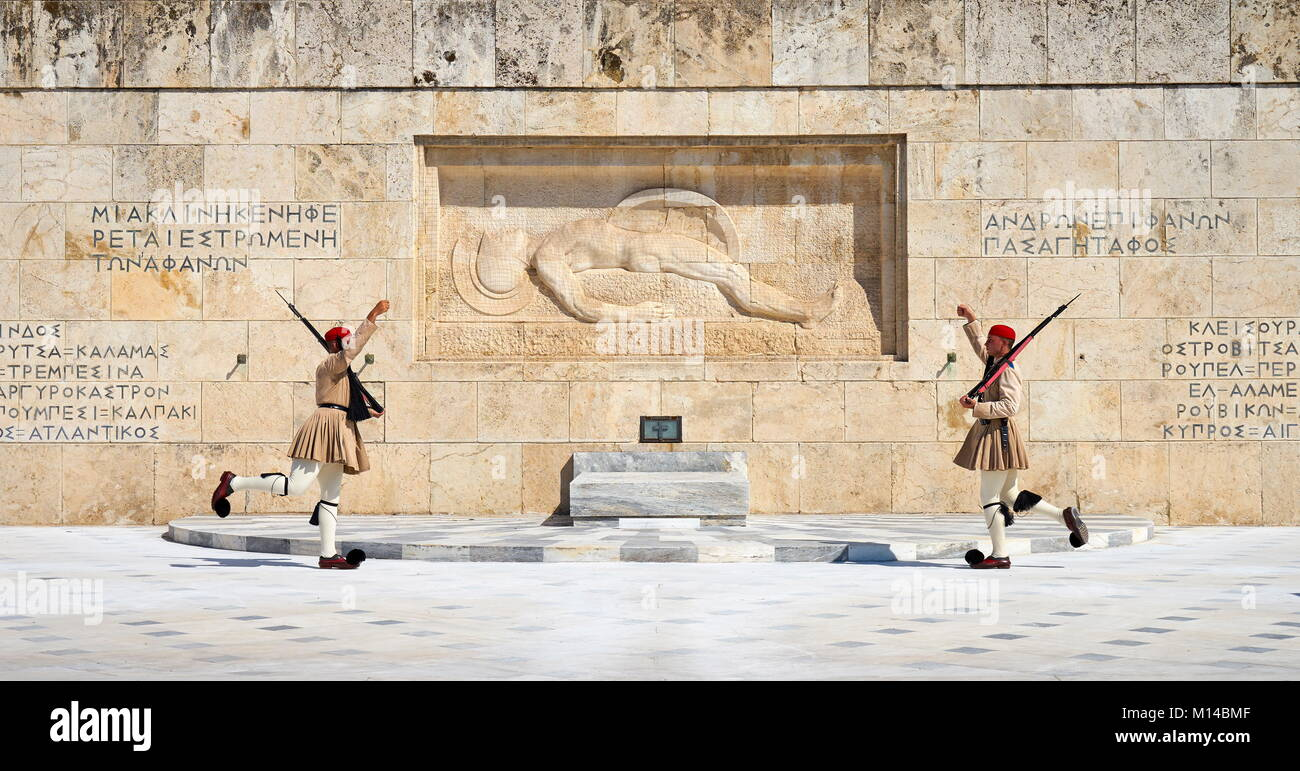Evzones changing the guard, Athens, Greece - Stock Image