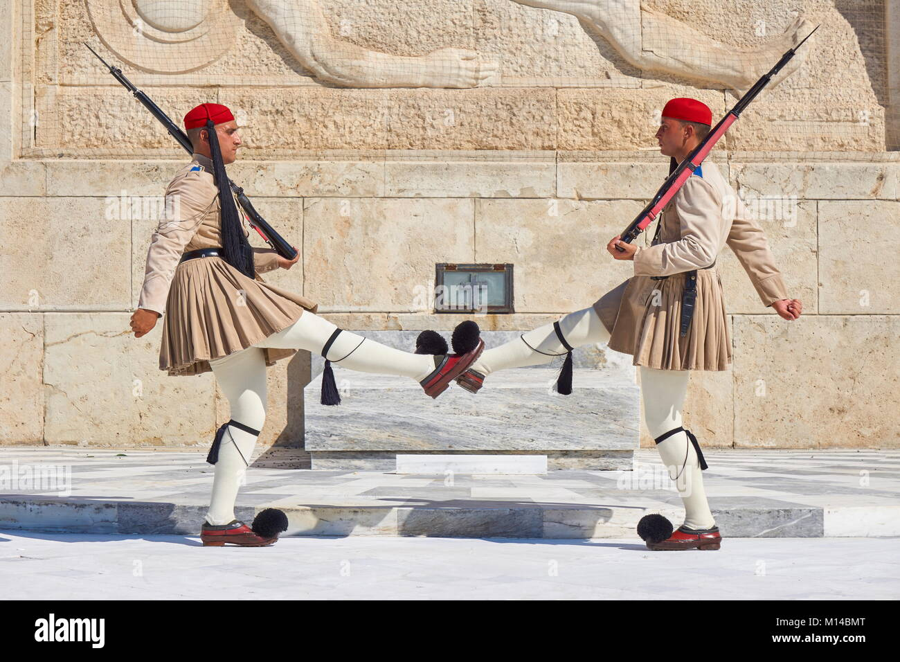 Athens - Evzones changing the guard at the Tomb of the Unknown Soldier, Greece Stock Photo