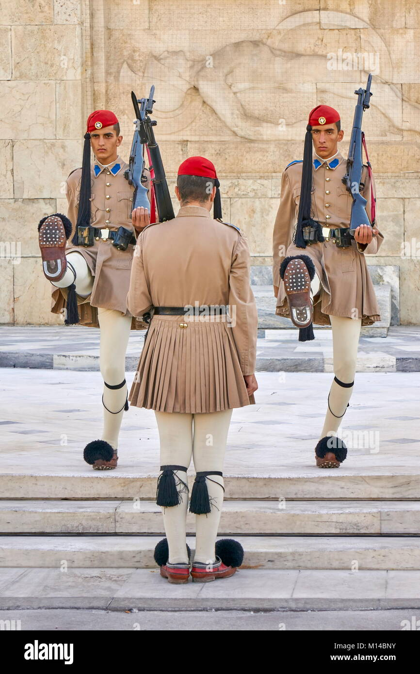 Ceremony of changing the guard, Athens, Greece - Stock Image