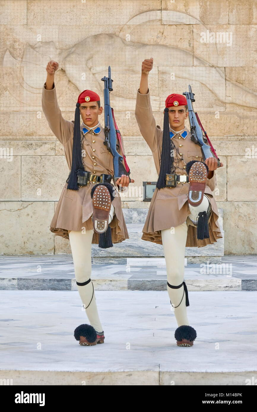 Ceremony of changing Evzones guard (presidential guards), Athens, Greece - Stock Image