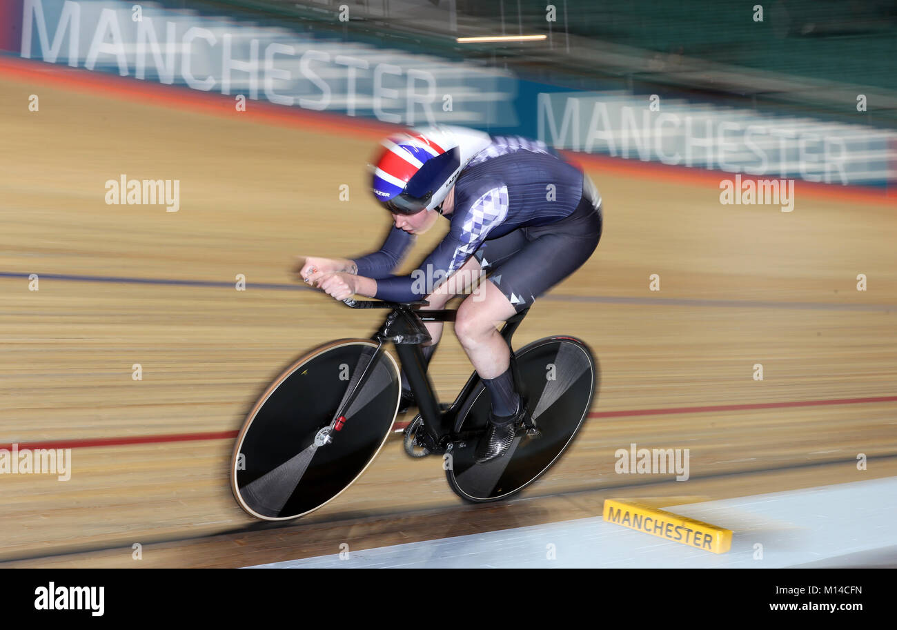 Katie Archibald of Team Wiggle High5 comes 1st in qualifying for the Women's Pursuit, during day one of the HSBC Stock Photo
