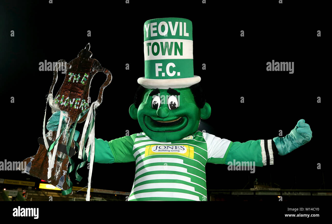 Yeovil Town mascot the Jolly Green Giant before the Emirates FA Cup, fourth round match at Huish Park, Yeovil. - Stock Image
