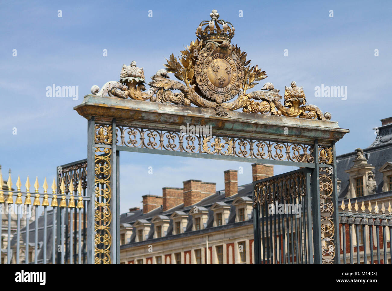 The front gate of Palace of Versailles, Ile-De-France, France, - Stock Image