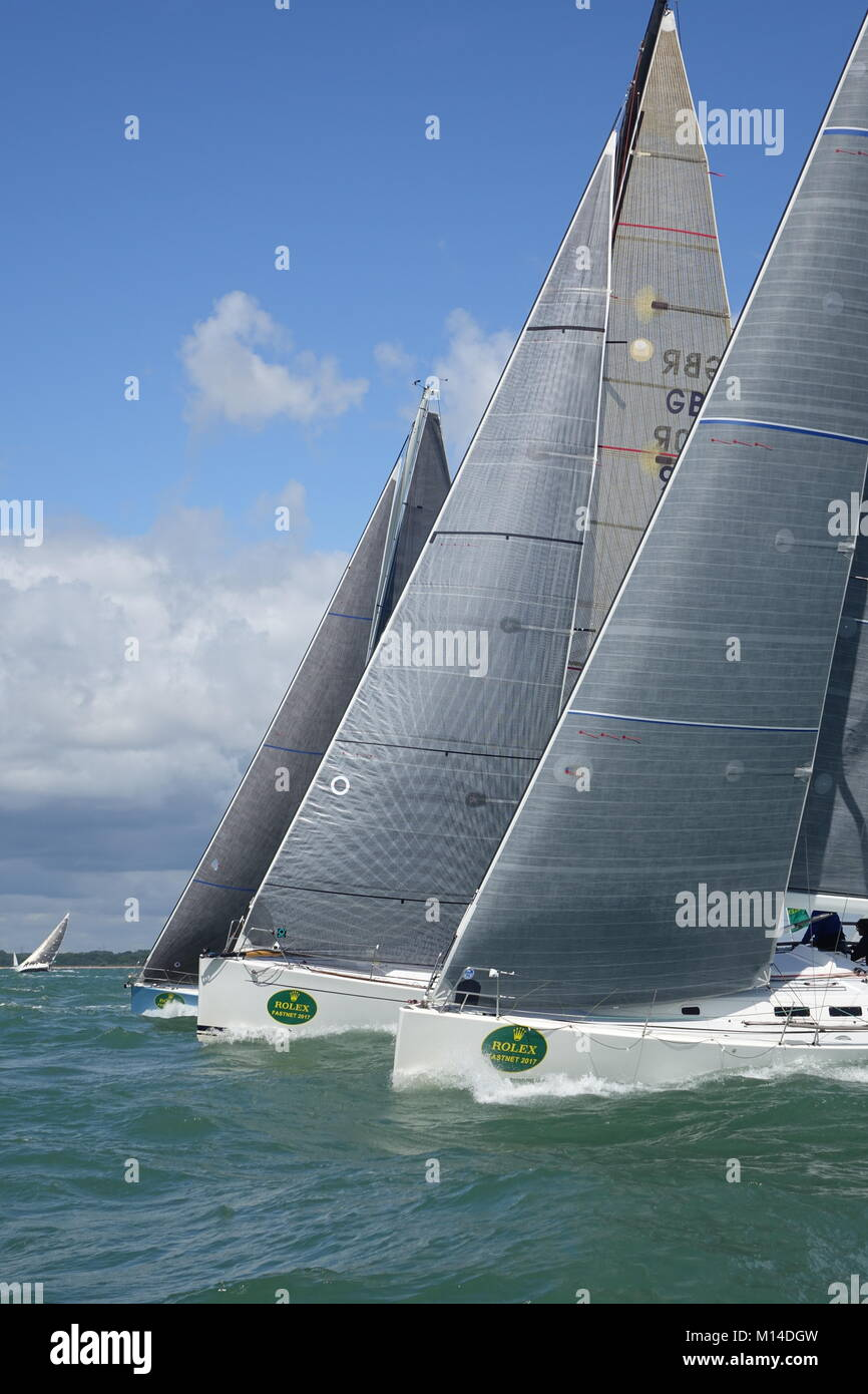 Fastnet yachts competing to win Stock Photo