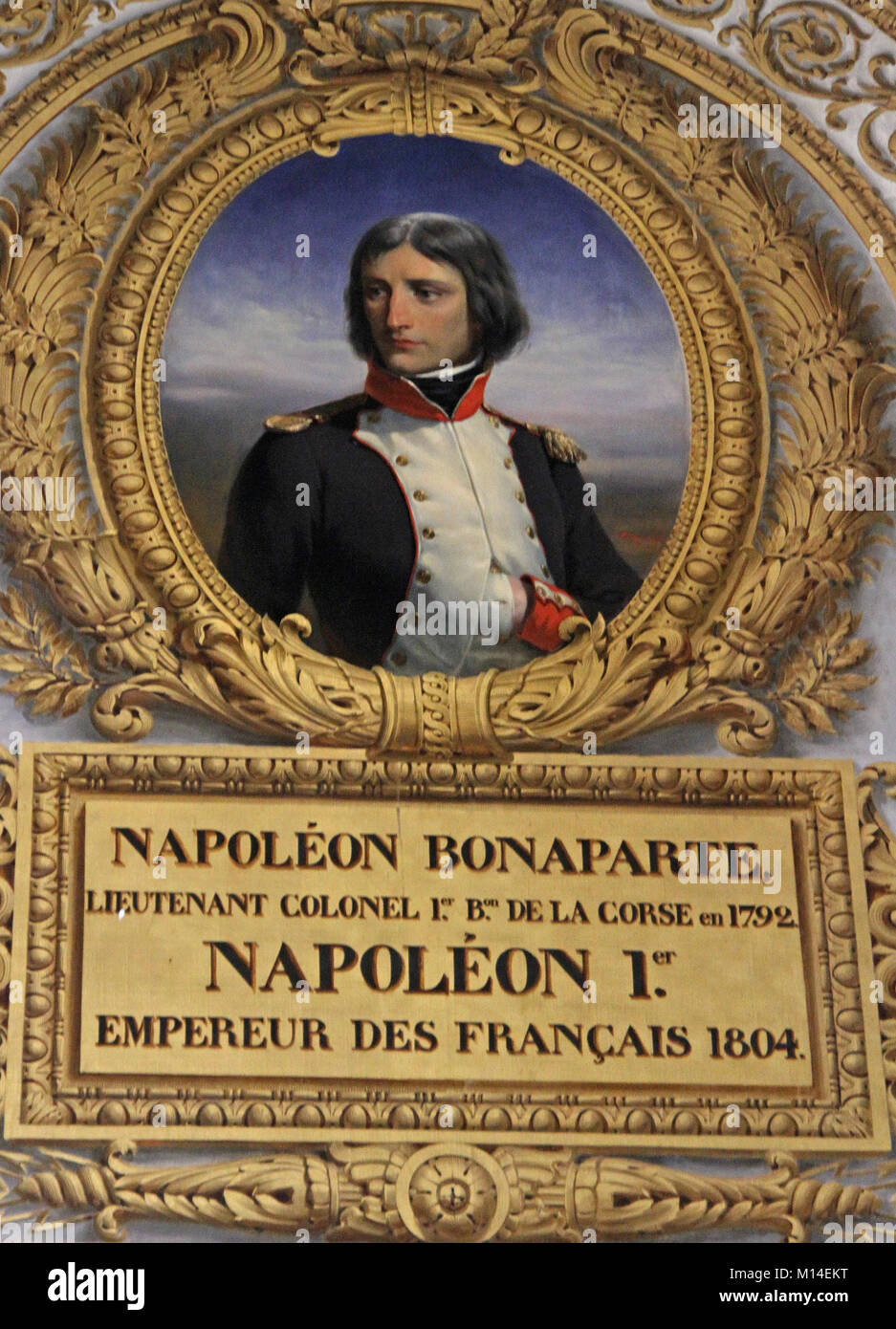 Oil canvas painting portrait of Napoleon Bonaparte as a Lieutenant Colonel of the Corsican National Guard by Henri - Stock Image