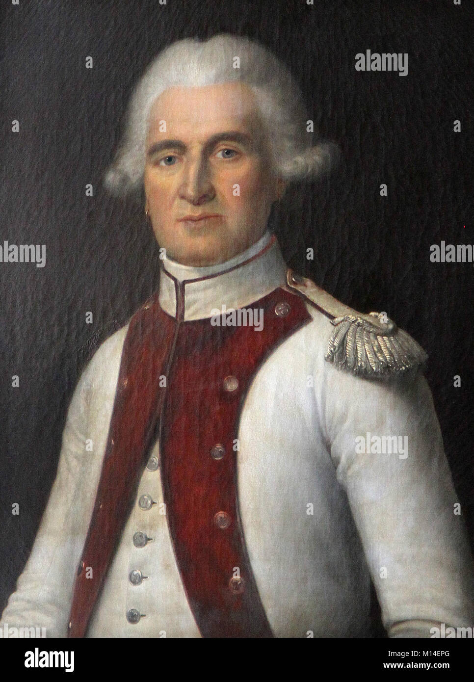 Oil canvas painting portrait of Lieutenant Colonel Mathieu Jean Philbert Serurier, Marshal of the Empire by F. Delance - Stock Image