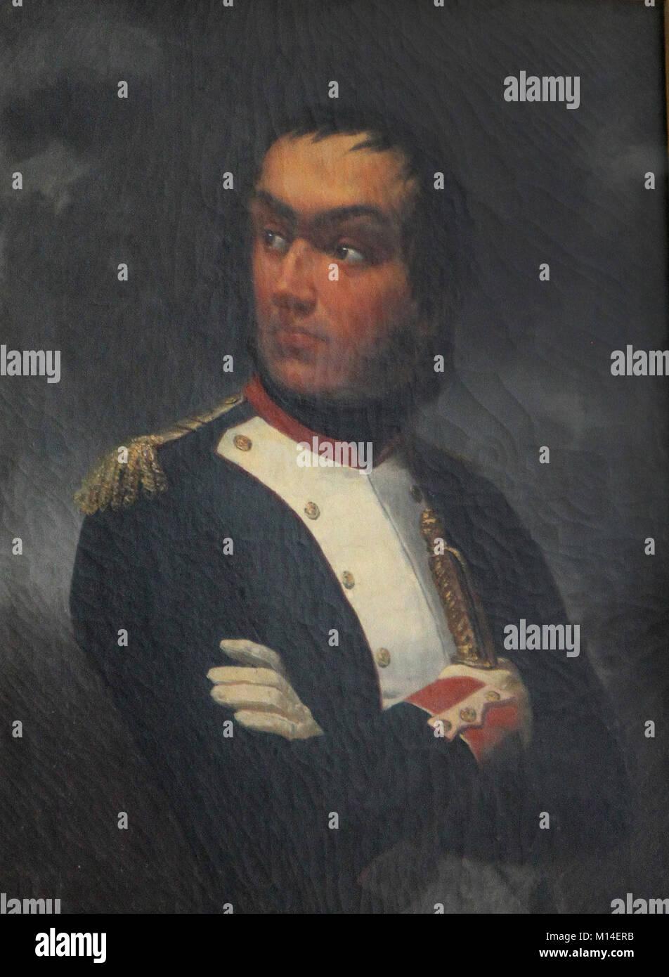 Oil canvas painting portrait of Lieutenant Colonel Marshal, Duke of Reggio Nicolas Charles Oudinot by Auguste Raymond - Stock Image