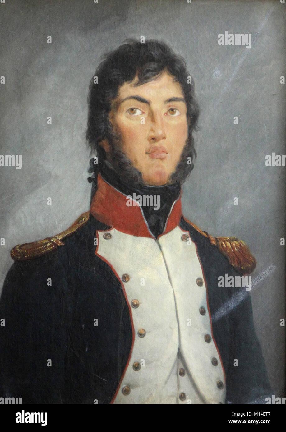 Oil canvas painting portrait of Lieutenant Colonel Louis-Gabriel Suchet, by Vincent Nicholas Raverat; in Room 1792, - Stock Image