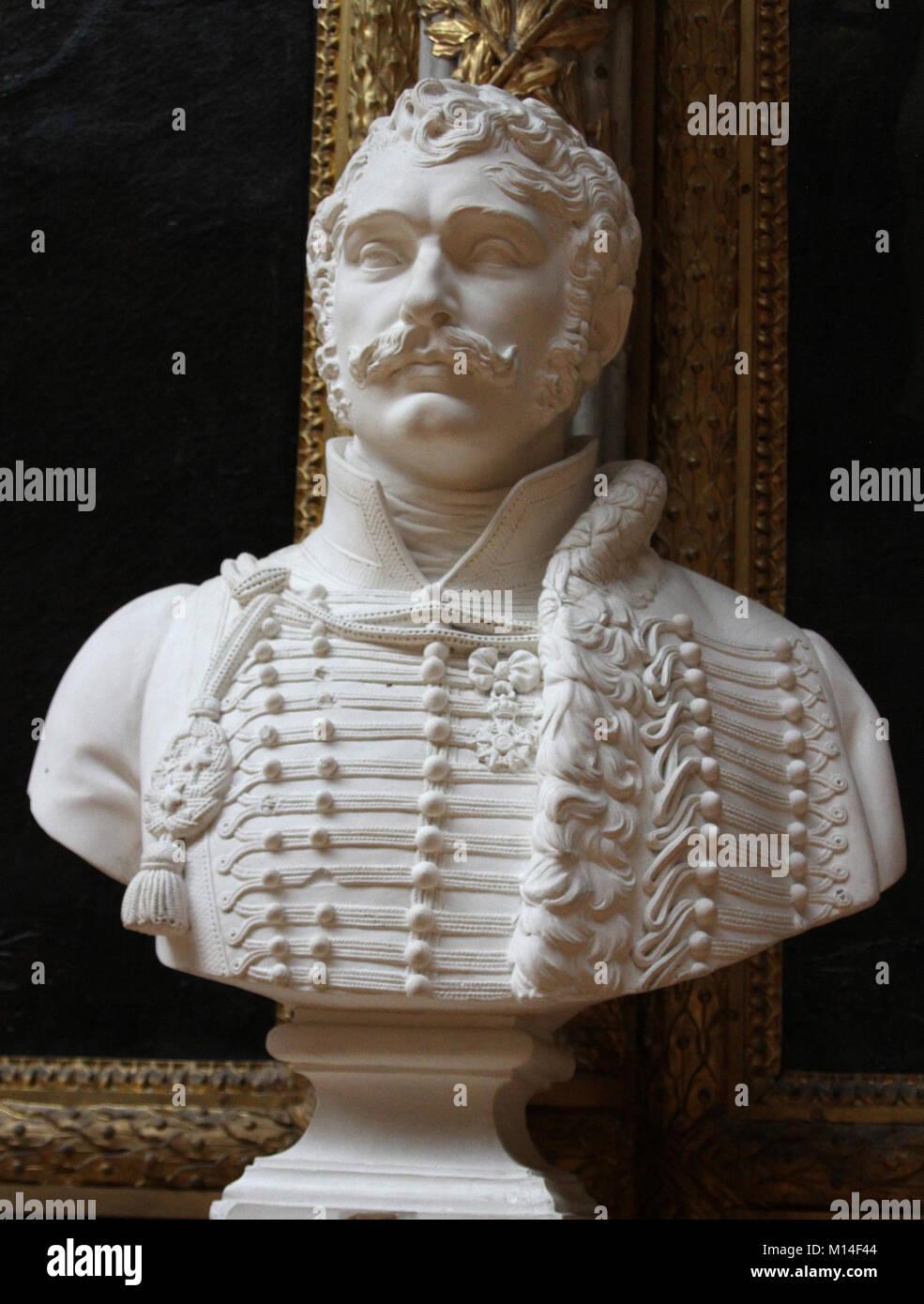Marble bust of General Antoine Charles Louis de Lasalle by Auguste Marie Taunay in the Gallery of battles, Versailles Stock Photo