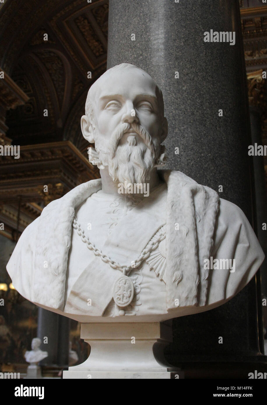 Marble bust of Duke Anne de Montmorency by James Pradier in the Gallery of Battles, Versailles Palace, Ile-De-France, - Stock Image