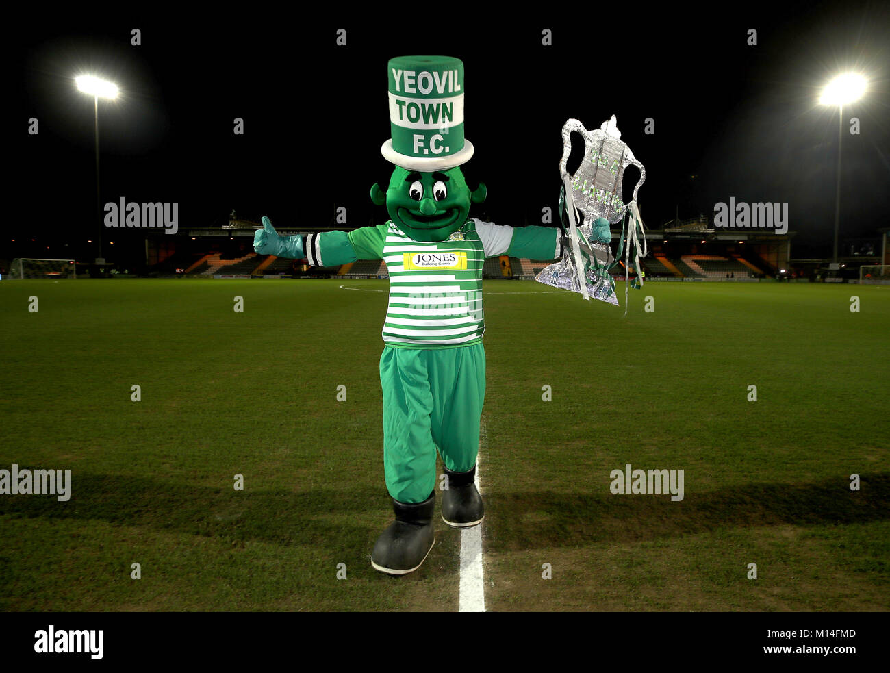 Yeovil Town mascot the Jolly Green Giant before the Emirates FA Cup, fourth round match at Huish Park, Yeovil. PRESS - Stock Image