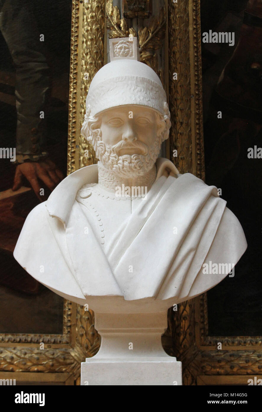 Marble bust of Jacques Christophe Coquille Dugommier Commander in Chief by Antoine-Denis Chaudet in the Gallery - Stock Image