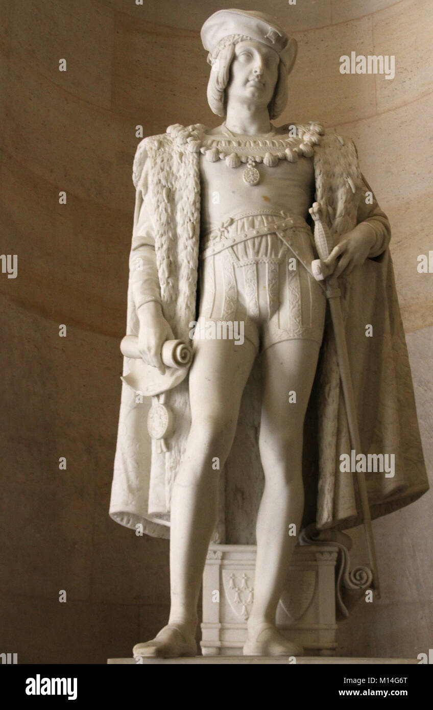 Marble sculpture statue of The Affable King Charles VIII of France,1470-1498, by Jean-Baptiste Joseph Debay in the - Stock Image