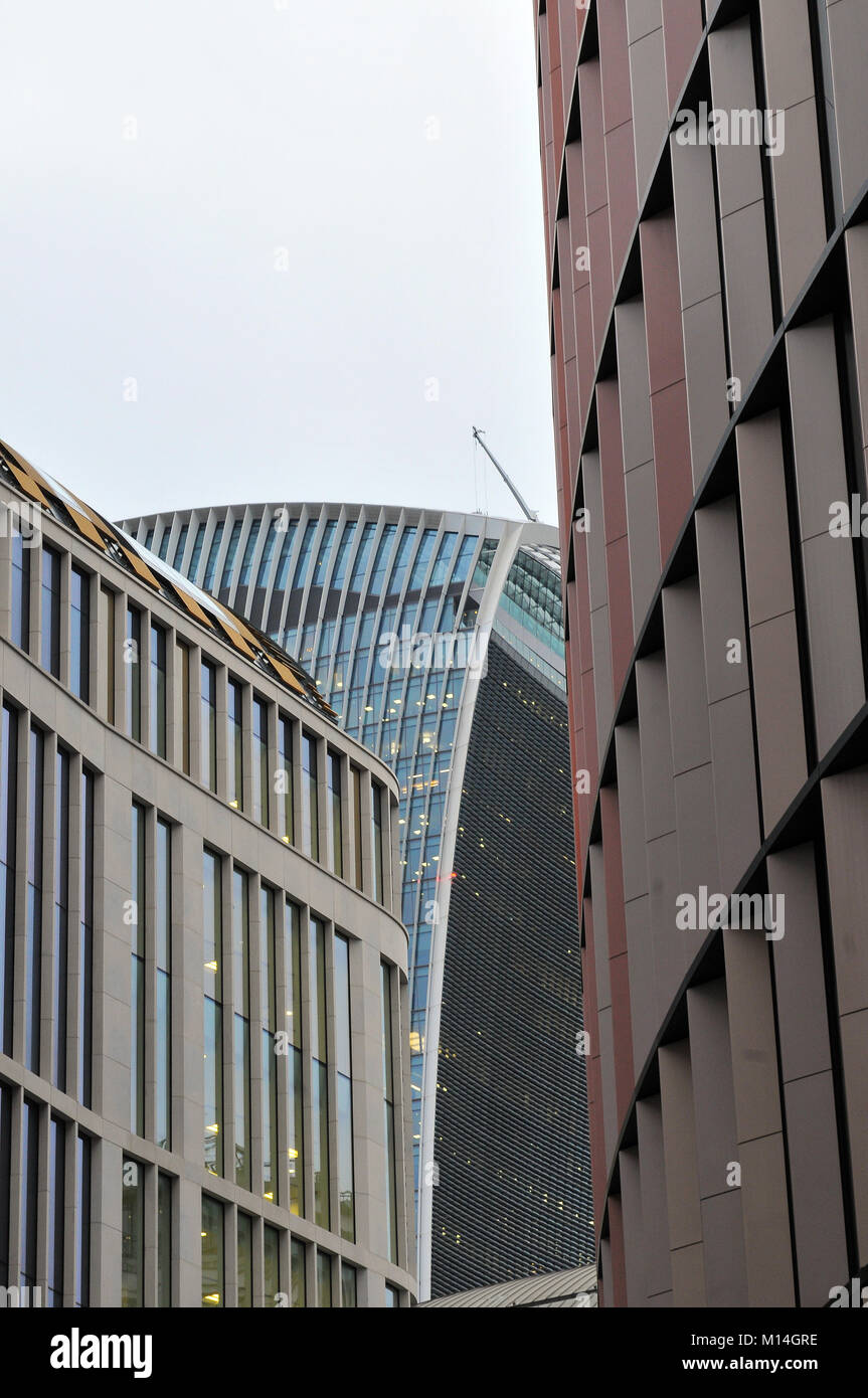 abstract city of london financial district walkie talkie tall buildings and banks in the square mile. london city - Stock Image