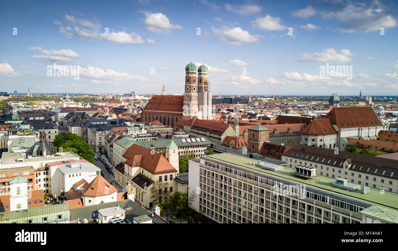 Munich aerial panorma with the most prominent landmark Frauenkirche, Bavaria, Germany - Stock Image