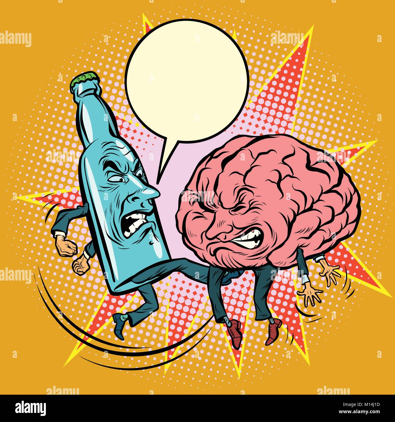 Alcohol versus intelligence, a bottle of beat the brain. Comic book cartoon pop art illustration retro drawing - Stock Vector