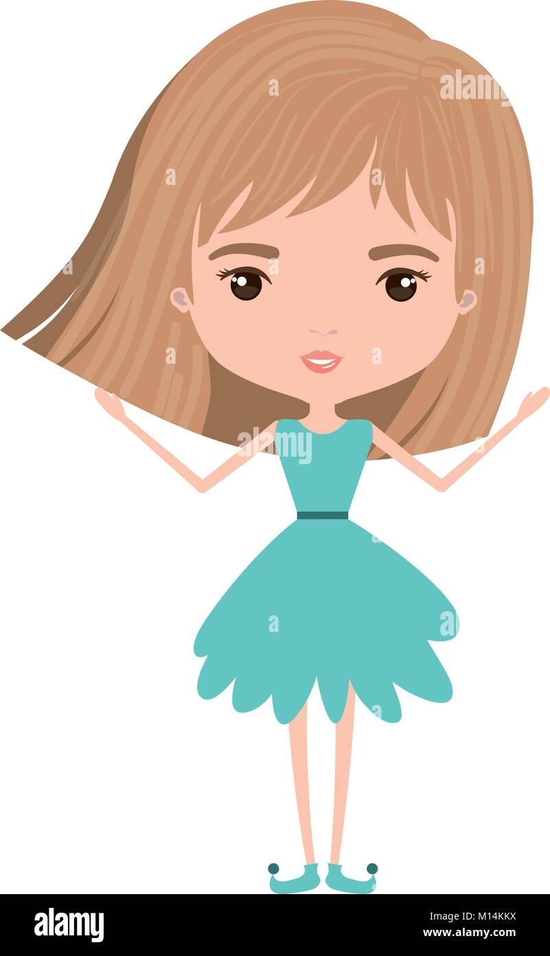 Girly Fairy Without Wings And Light Brown Short Hair In Blue Dress On Stock Vector Image Art Alamy